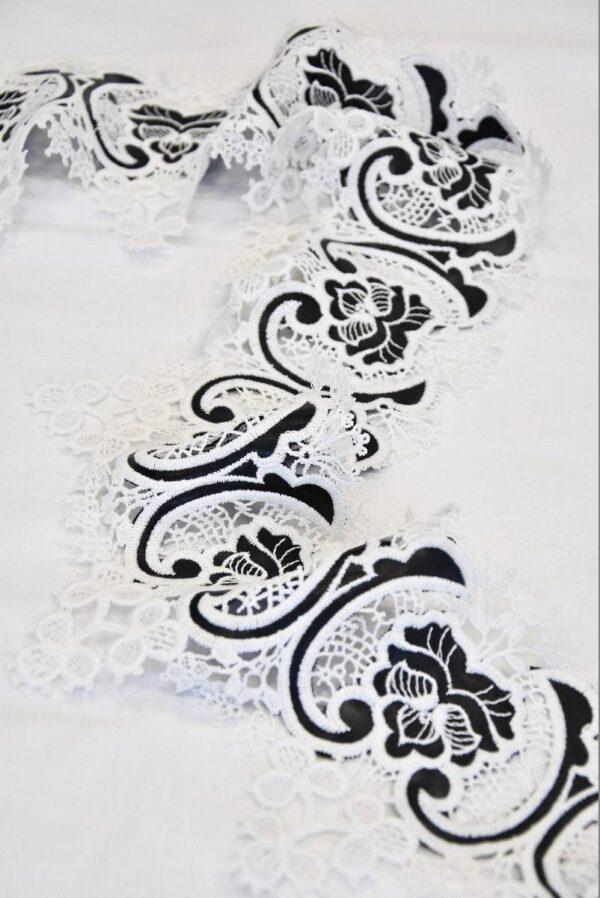 Тесьма кружевная макраме молочные цветы с кожаными вставками ( t0510) т-2 - Фото 6