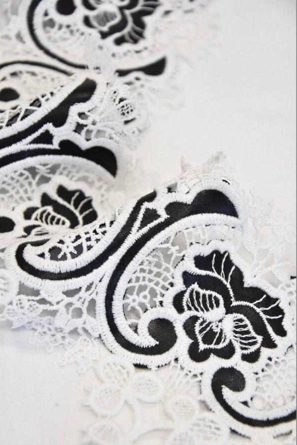 Тесьма кружевная макраме молочные цветы с кожаными вставками ( t0510) т-2 - Фото 7