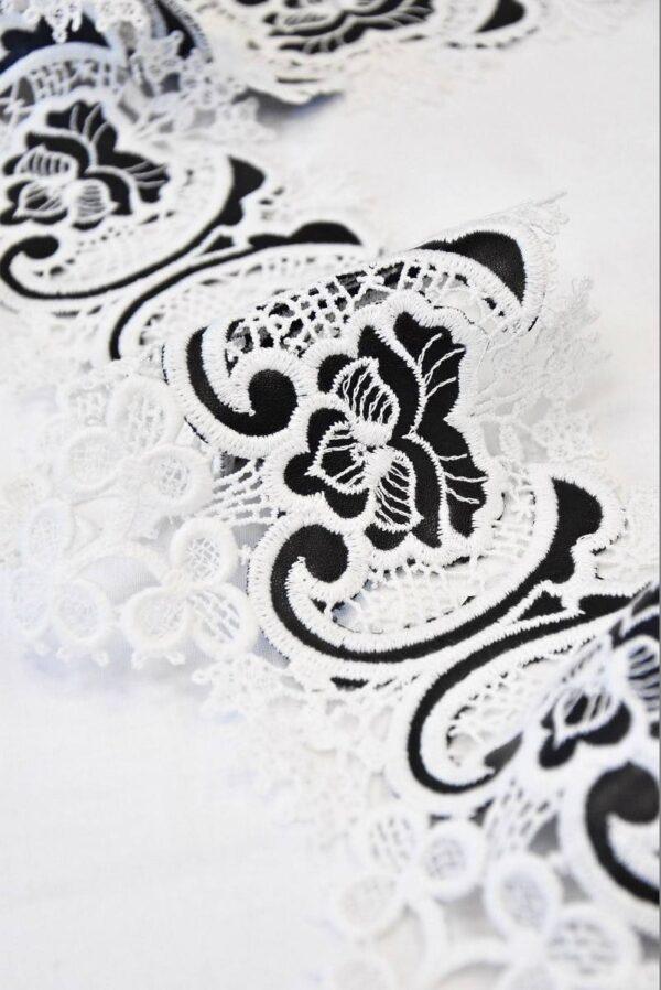 Тесьма кружевная макраме молочные цветы с кожаными вставками ( t0510) т-2 - Фото 9