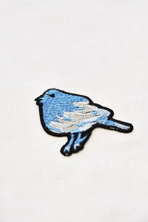 Термоаппликация птичка голубого оттенка (t0514) А-1 - Фото 6
