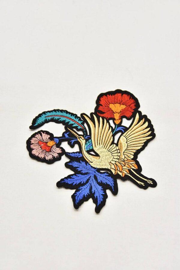 Термоаппликация журавль цветы листья (t0543) А-1 - Фото 6