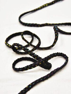 Тесьма шерсть черная с желтым и зеленым (t0551) т-7 - Фото 15