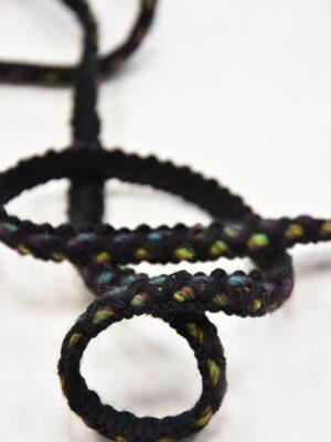 Тесьма шерсть черная с желтым и зеленым (t0551) т-7 - Фото 16