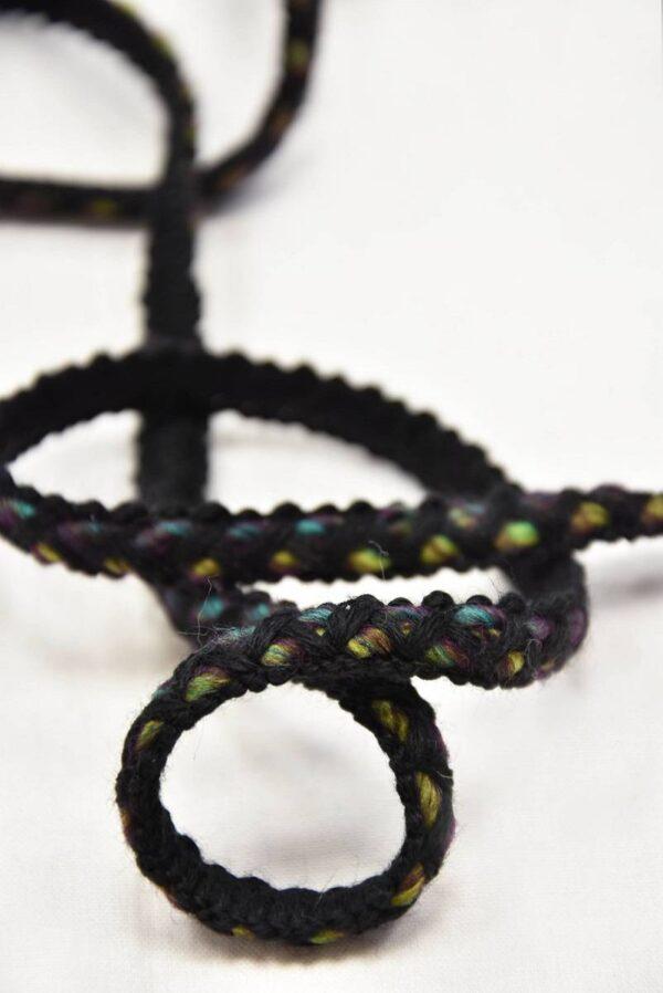 Тесьма шерсть черная с желтым и зеленым (t0551) т-7 - Фото 7