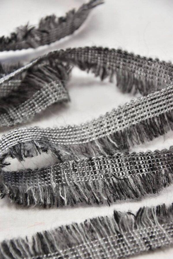 Тесьма шерстяная с бахромой серый меланж (t0555) т-6 - Фото 8