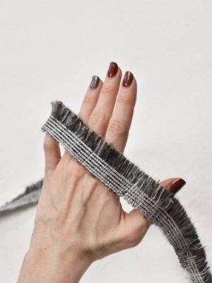 Тесьма шерстяная с бахромой серый меланж (t0555) т-6 - Фото 10