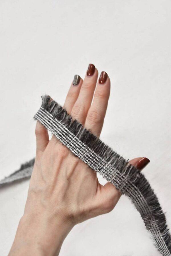 Тесьма шерстяная с бахромой серый меланж (t0555) т-6 - Фото 7