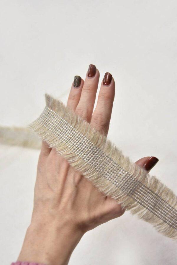 Тесьма шерстяная бежевая с бахромой (t0556) т-6 - Фото 9
