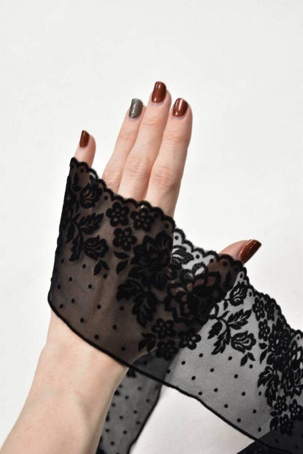 Кружево стрейч черное с велюровыми цветами и горошком (t0587) т-22 - Фото 7