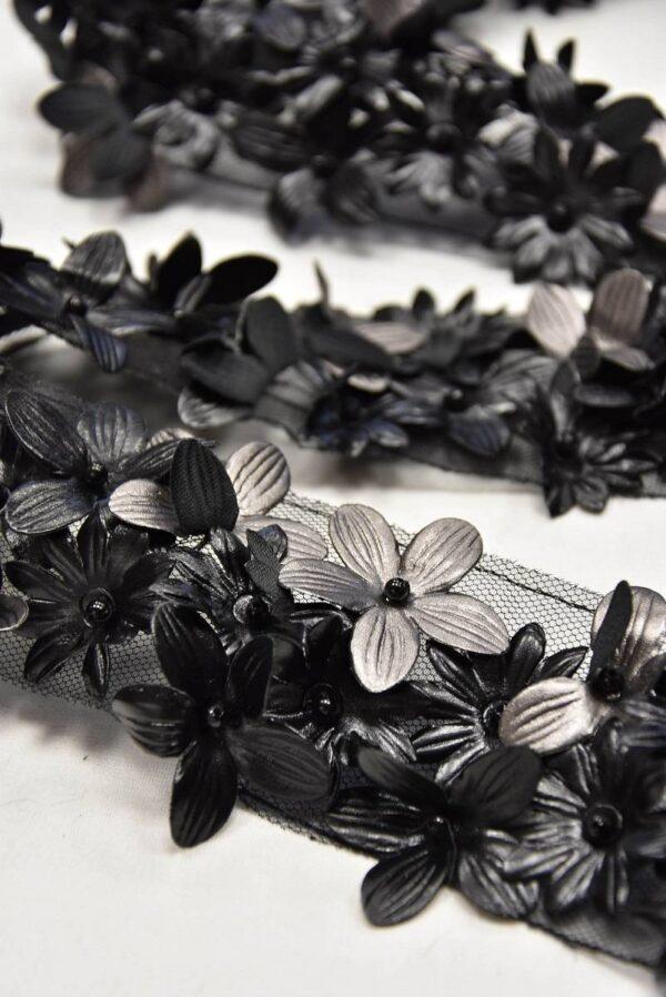 Тесьма отделочная кожаные 3D цветы на сетке (t0591) т-14 - Фото 7