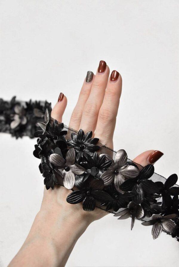 Тесьма отделочная кожаные 3D цветы на сетке (t0591) т-14 - Фото 8
