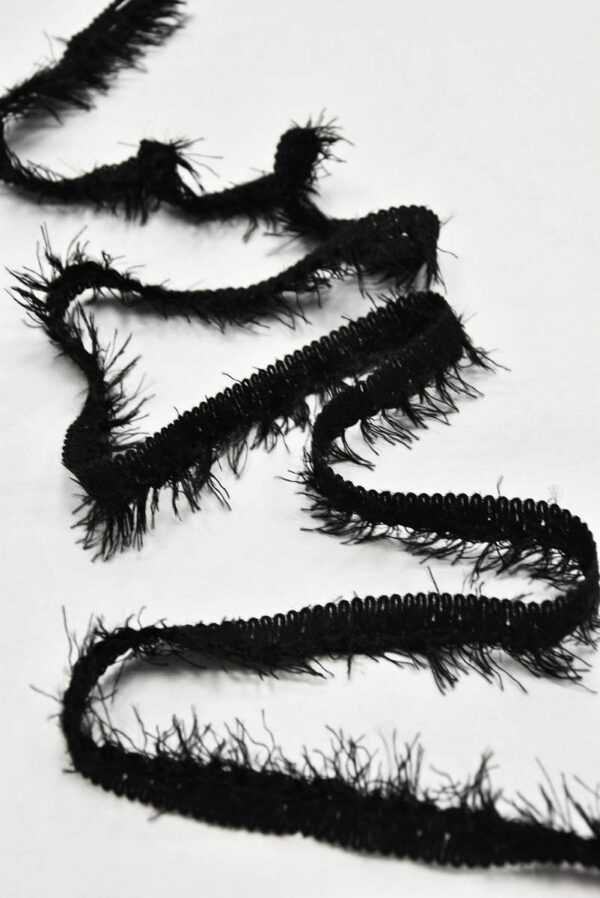 Тесьма черная с длинной бахромой (t0594) т-7 - Фото 6