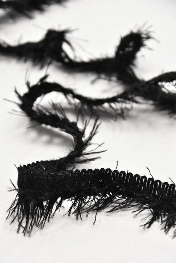 Тесьма черная с длинной бахромой (t0594) т-7 - Фото 7