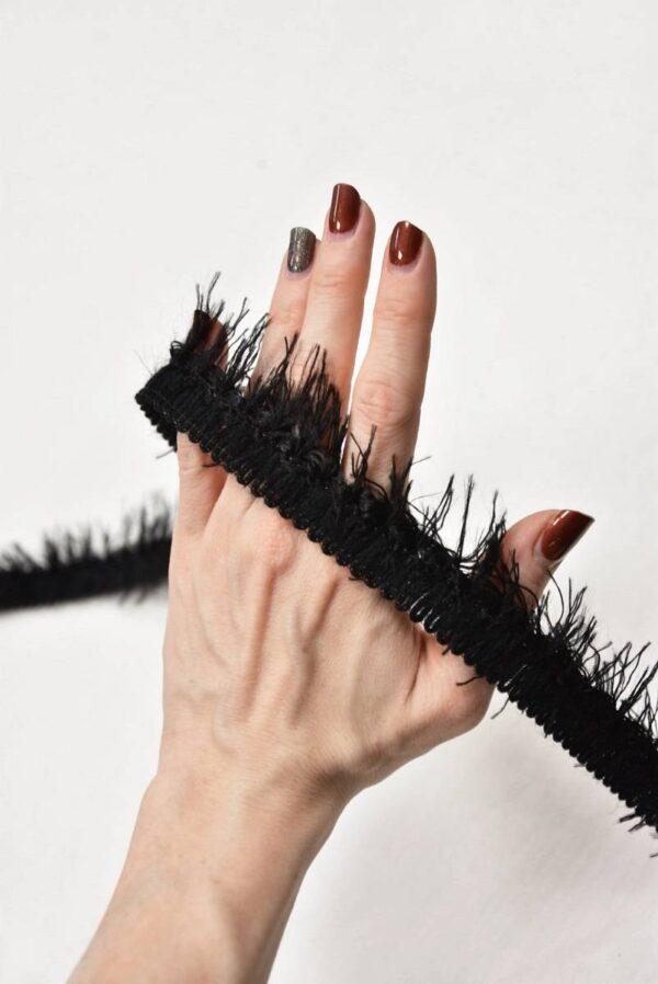 Тесьма черная с длинной бахромой (t0594) т-7 - Фото 9