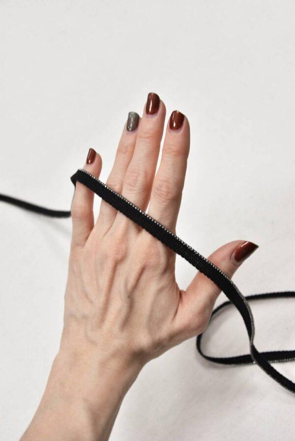 Тесьма черная с цепочкой (t0603) т-8 - Фото 8