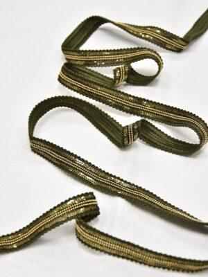 Тесьма оливковая с золотыми пайетками и цепью (t0604) т-8 - Фото 11