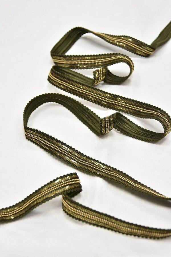 Тесьма оливковая с золотыми пайетками и цепью (t0604) т-8 - Фото 6