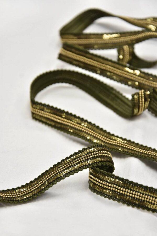Тесьма оливковая с золотыми пайетками и цепью (t0604) т-8 - Фото 9