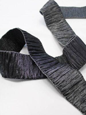 Резинка гофре черная с серебром блестящая (t0666) т-18 - Фото 15