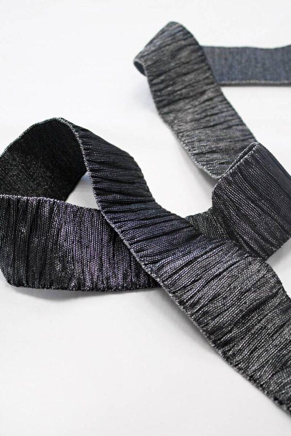 Резинка гофре черная с серебром блестящая (t0666) т-18 - Фото 7