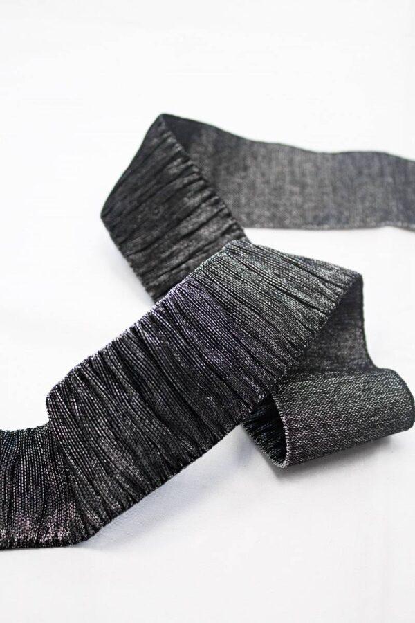 Резинка гофре черная с серебром блестящая (t0666) т-18 - Фото 8