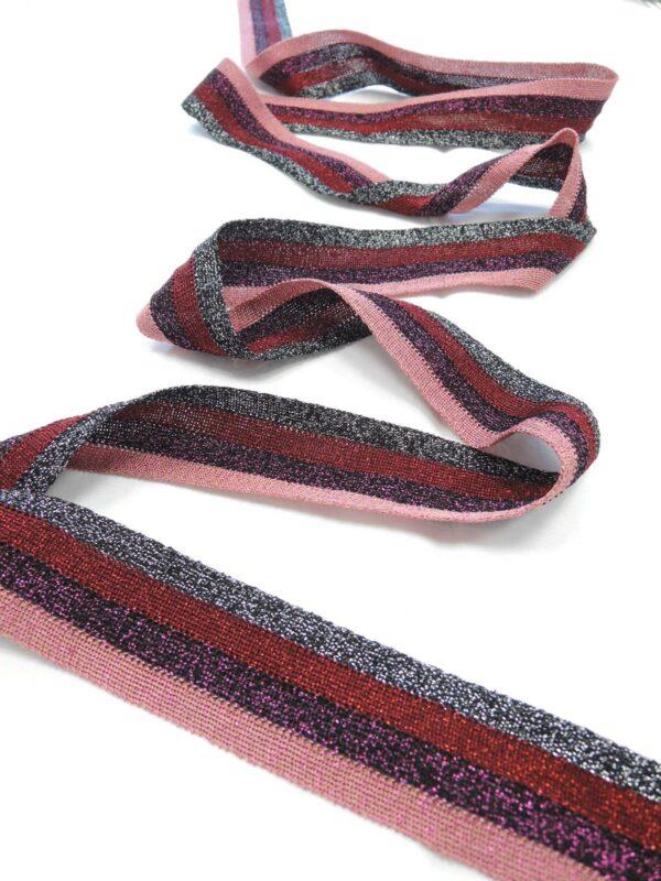 Лампасы с люрексом в полоску бордо розовый фуксия (t0571) т-1 - Фото 8