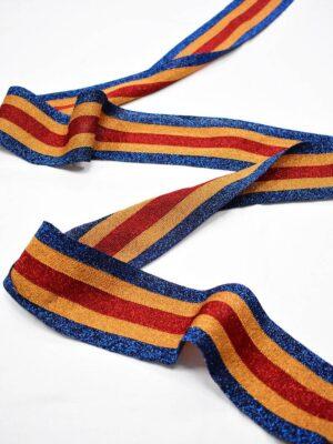 Лампасы с люрексом в синюю оранжевую красную полоску (t0710) т-12 - Фото 11