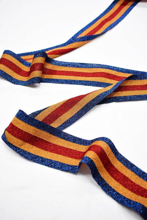 Лампасы с люрексом в синюю оранжевую красную полоску (t0710) т-12 - Фото 6
