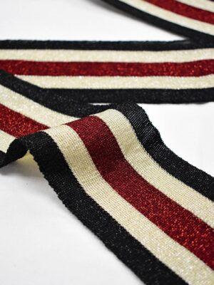 Лампасы с люрексом в черную бежевую и красную полоску (t0711) т-12 - Фото 16