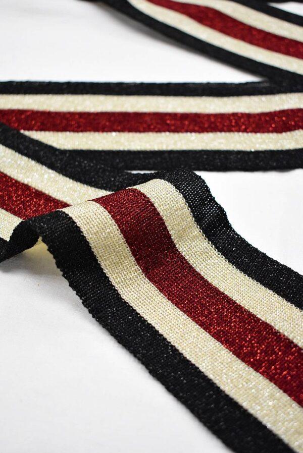 Лампасы с люрексом в черную бежевую и красную полоску (t0711) т-12 - Фото 7