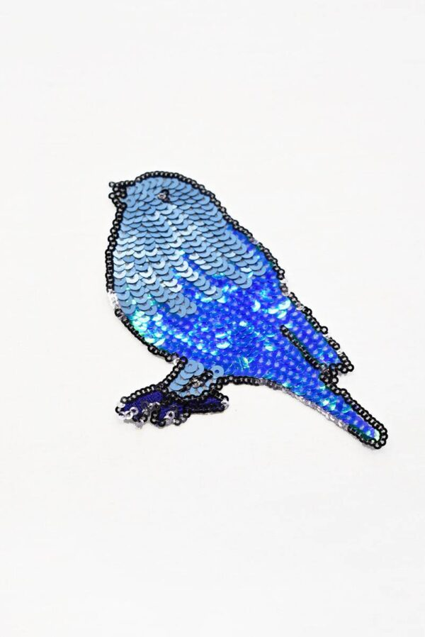 Термо аппликация птица из голубых пайеток (t0778) А-1 - Фото 6