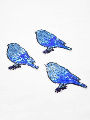 Термо аппликация птица из голубых пайеток (t0778) А-1 - Фото 12