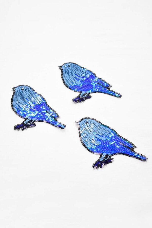 Термо аппликация птица из голубых пайеток (t0778) А-1 - Фото 7