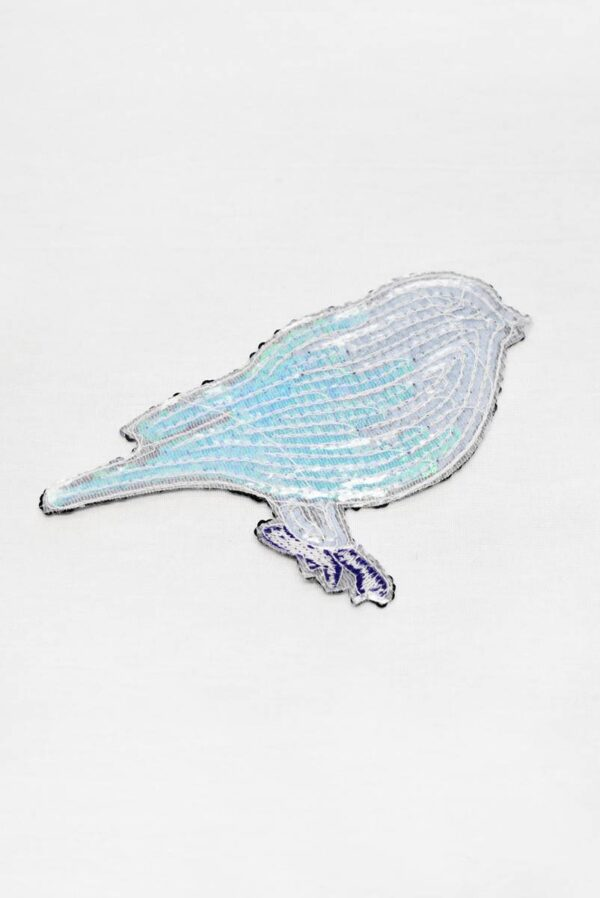 Термо аппликация птица из голубых пайеток (t0778) А-1 - Фото 9