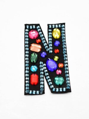 Аппликация пришивная буква N с разноцветными камнями (t0779) А-1 - Фото 9