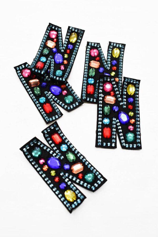 Аппликация пришивная буква N с разноцветными камнями (t0779) А-1 - Фото 8