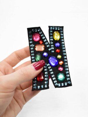 Аппликация пришивная буква N с разноцветными камнями (t0779) А-1 - Фото 10