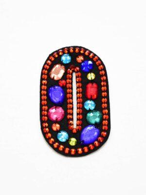 Аппликация пришивная буква О с разноцветными камнями (t0780) А-1 - Фото 10