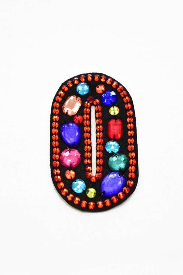 Аппликация пришивная буква О с разноцветными камнями (t0780) А-1 - Фото 6