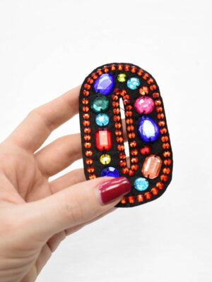 Аппликация пришивная буква О с разноцветными камнями (t0780) А-1 - Фото 11