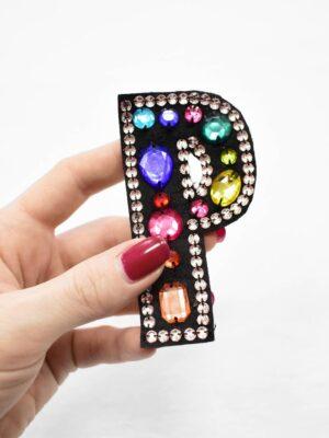 Аппликация пришивная буква Р с разноцветными камнями (t0781) А-1 - Фото 9