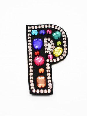 Аппликация пришивная буква Р с разноцветными камнями (t0781) А-1 - Фото 8