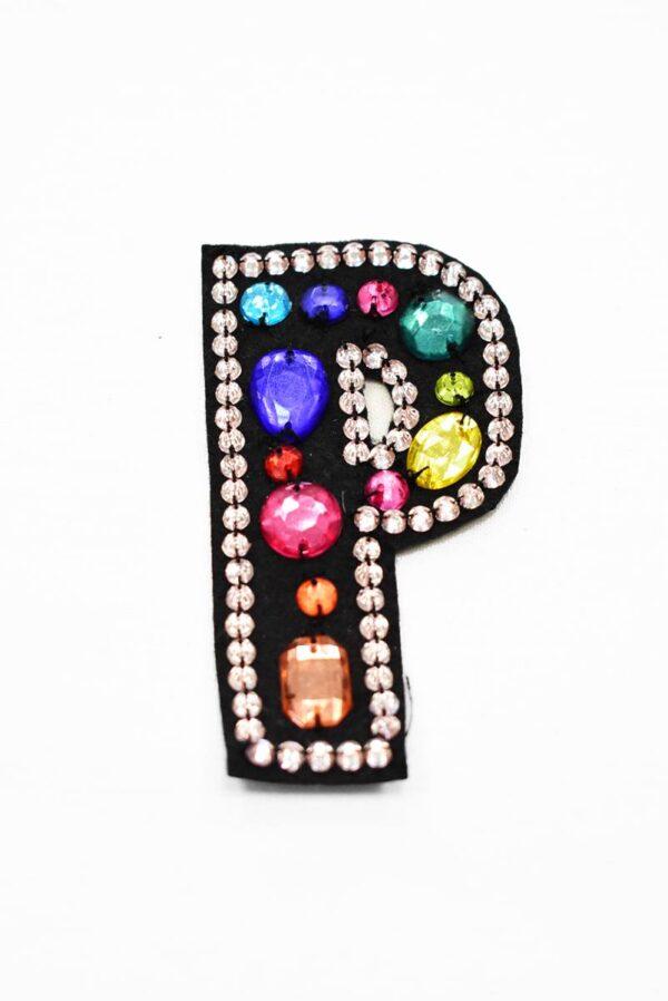 Аппликация пришивная буква Р с разноцветными камнями (t0781) А-1 - Фото 6