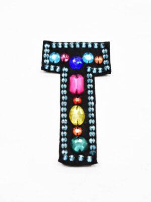 Аппликация пришивная буква Т с разноцветными камнями (t0782) А-1 - Фото 18