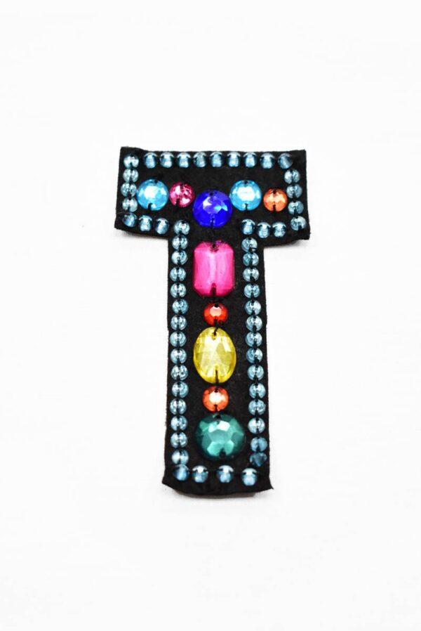 Аппликация пришивная буква Т с разноцветными камнями (t0782) А-1 - Фото 6