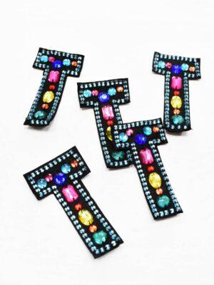 Аппликация пришивная буква Т с разноцветными камнями (t0782) А-1 - Фото 19