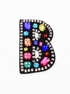 Аппликация пришивная буква В с разноцветными камнями (t0783) А-1 - Фото 9