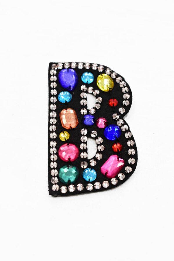 Аппликация пришивная буква В с разноцветными камнями (t0783) - Фото 6