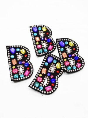 Аппликация пришивная буква В с разноцветными камнями (t0783) А-1 - Фото 10
