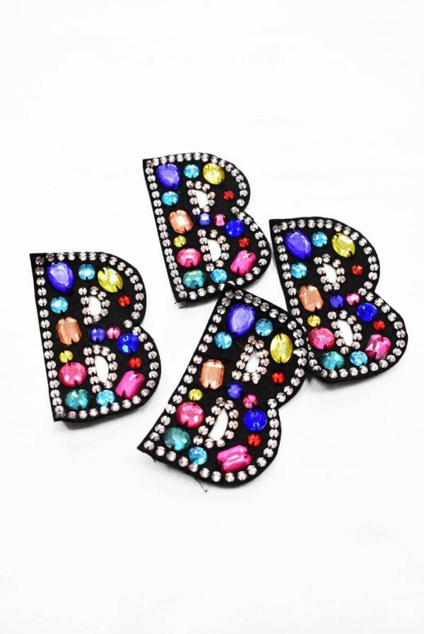 Аппликация пришивная буква В с разноцветными камнями (t0783) - Фото 7